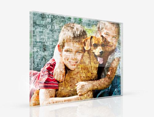 Mosaikbild als Foto hinter Acrylglas