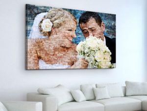 Fotomosaik auf Leinwand Hochzeitspaar mit Brautstrauß