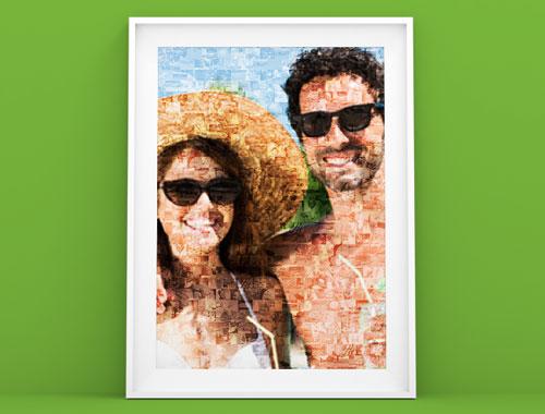 Fotomosaik als Poster im Rahmen