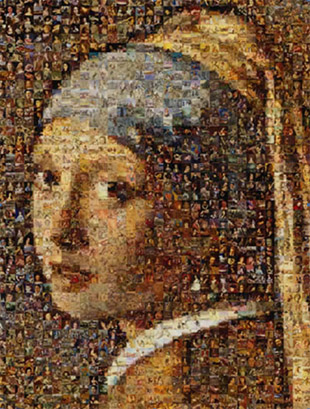 Photo mosaic art Silvers Pearl Earring