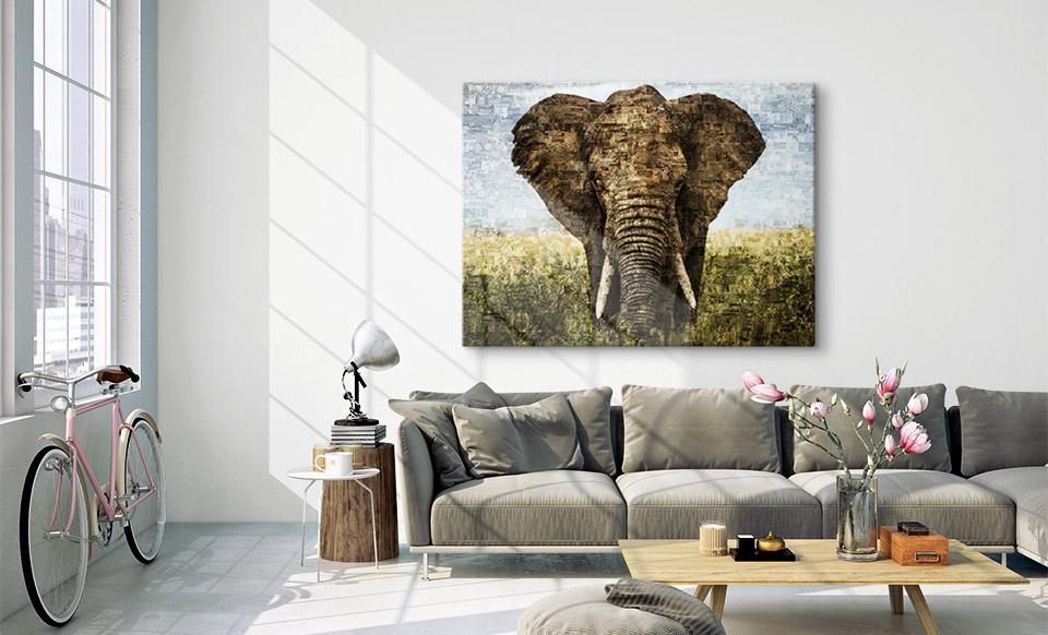 Fotomosaik auf Alu-Dibond gedruckt über Sofa