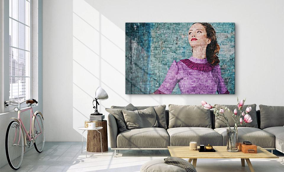 Aus vielen kleinen Fotos ein großes Mosaik über Sofa