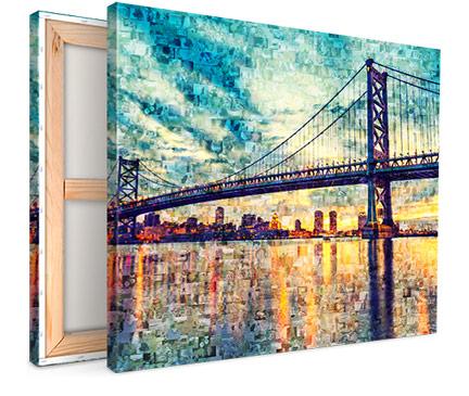 bruecke mosaik fotoleinwand ansicht