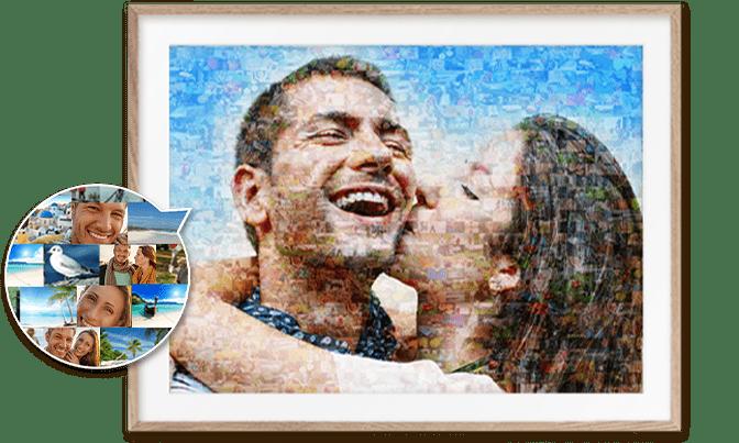 Fotomosaik mit Detailansicht der Einzelbilder
