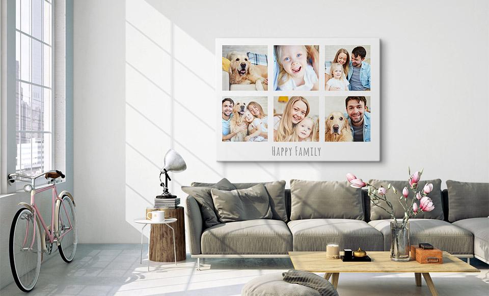 Fotocollage gedruckt über Sofa