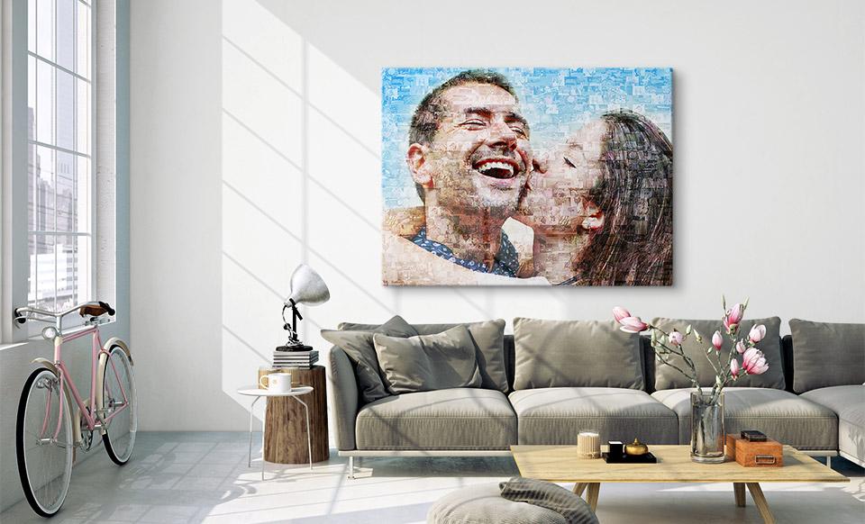 Fotmosaik mit Mac erstellt über dem Sofa