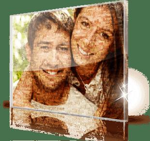 Mosaikbild von Paar hinter Acrylglas gedruckt