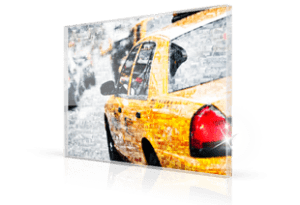 Fotomosaik Taxi auf Acrylglas gedruckt