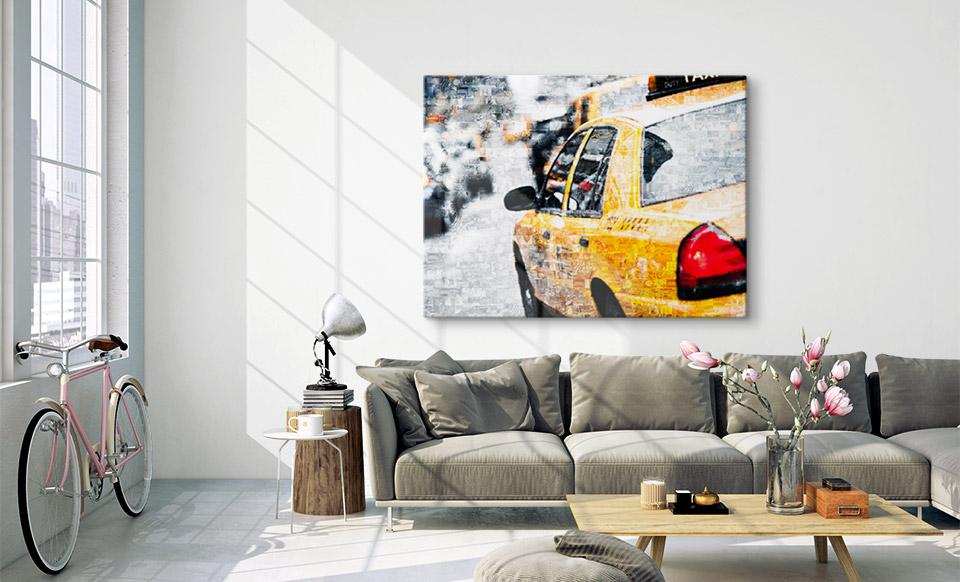 Fotomosaik hinter Acrylglas gedruckt über Sofa