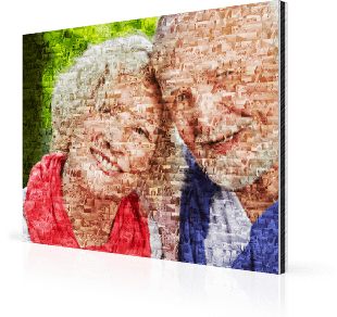 Fotomosaik Großeltern auf Alu-Dibond gedruckt