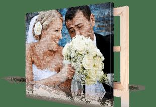 Fotomosaik Hochzeitspaar auf Leinwand gedruckt