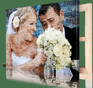 Fotomosaik Brautpaar auf Leinwand gedruckt