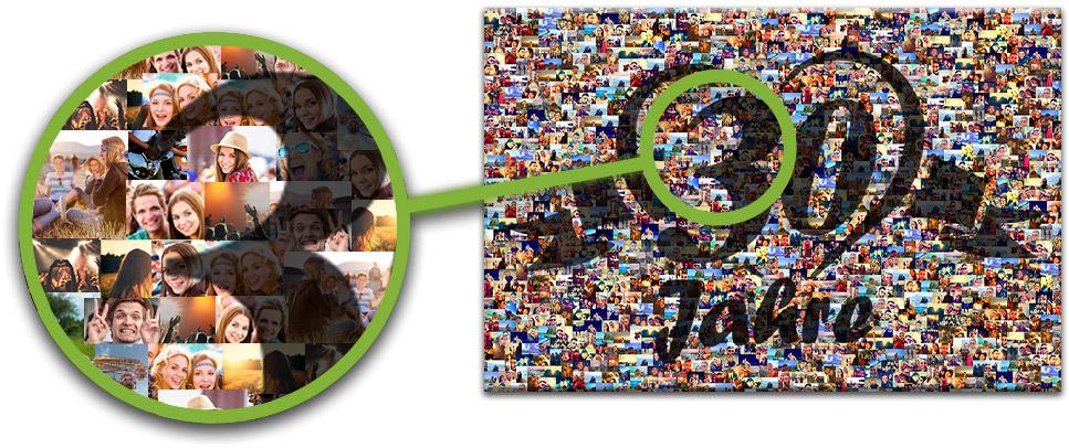 Detailansicht Fotomosaik mit Zahl