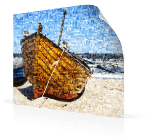 Fotomosaik Poster mit Boot am Strand