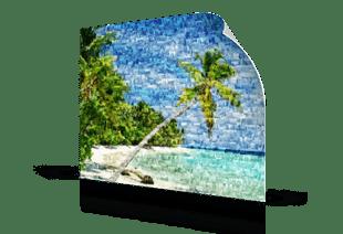 Fotomosaik Strand als Poster gedruckt