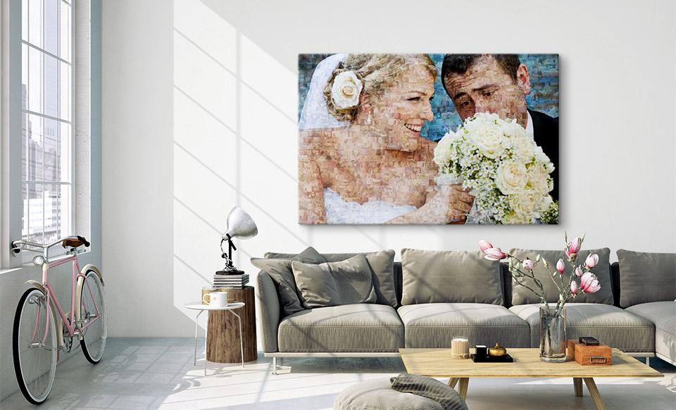 Fotomosaik Hochzeit über dem Sofa