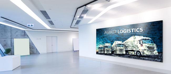 Fotomosaik im Eingangsbereich eines Unternehmen