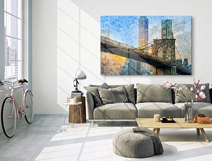 fotomosaik acrylglas wohnraum