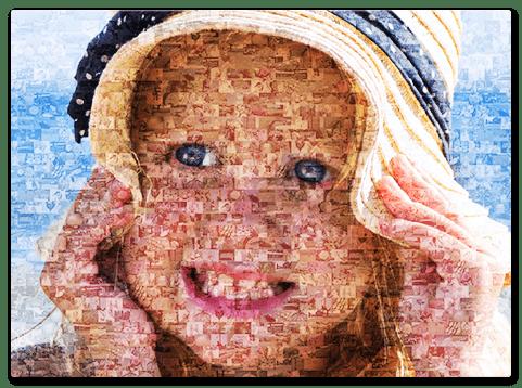 Mosaikbild aus Kinderfotos