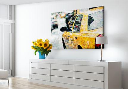 Fotomosaik auf Acrylglas gedruckt über Kommode