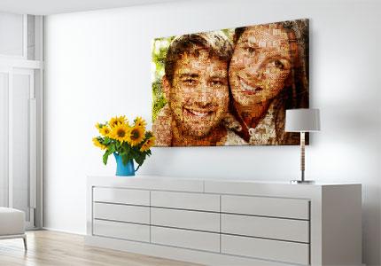 Fotomosaik auf Leinwand gedruckt über Kommode